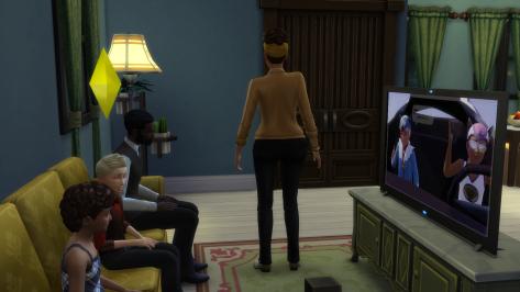 Sawyer and Laine watch TV